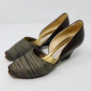VIA SPIGA peep toe, wedge d'orsay shoes, Italy